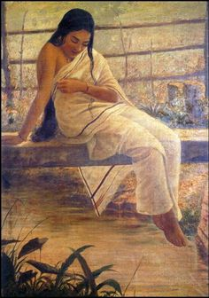 Raja Ravi Varma (1848-1906) - Lady on the Bridge