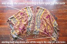 scarf to poncho DIY