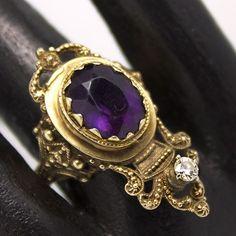 Estrucan Revival Amethyst & Diamond Ring