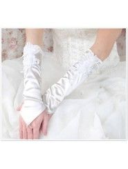 Satin Fingerless Elbow Length With Flowers Bridal Gloves