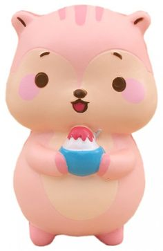pink squirrel animal scented squishy kawaii