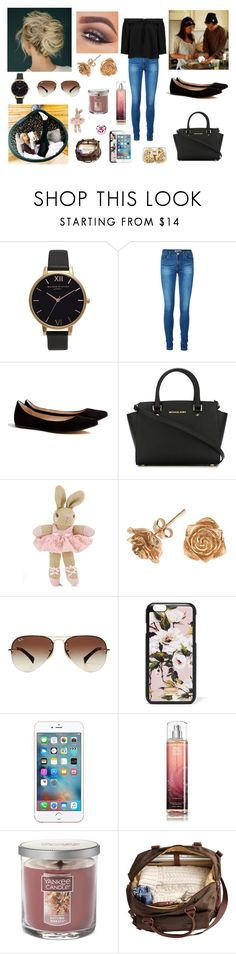 """Day at Anne with Harry, Darcy and Gemma"" by louisericoul ❤ liked on Polyvore featuring GET LOST, Olivia Burton, Vero Moda, Ganni, MICHAEL Michael Kors, Monsoon, Dower & Hall, Ray-Ban, Dolce&Gabbana and Yankee Candle"
