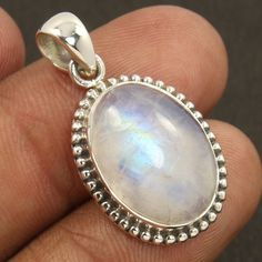 925 Solid Sterling Silver Natural RAINBOW MOONSTONE Gemstone Fashionable Pendant #Unbranded #Pendant
