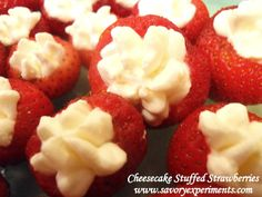 No-Bake Cheesecake Stuffed Strawberries - Single bite desserts, perfect for BBQ's and pot lucks! -Savory Experiments