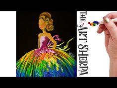 Wie man ein Mädchen in einem Regenbogenkleid malt EASY Acrylmalerei Lisa Frank inspiriert - YouTube