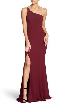 fdccbe4ed1 Dress the Population Amy One-Shoulder Crepe Gown
