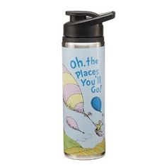 Dr Seuss Oh The Places Youll Go Stainless Steel Water Bottle Multicolored *** Learn more by visiting the image link. College Graduation Gifts, Grad Gifts, Graduation Ideas, Fancy Water Bottles, Best Travel Coffee Mug, Insulated Cups, Mugs For Sale, Stainless Steel Water Bottle, Coffee Mugs