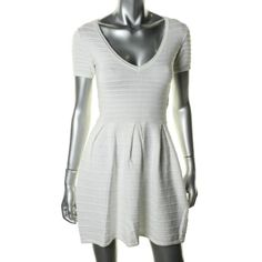 FRENCH CONNECTION 1108 NEW Womens White V-Neck Sweaterdress Juniors 0 BHFO #FrenchConnection #SweaterDress #Casual