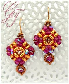 Free pattern for earrings Holiday Balcony by Gunta (moonperl.blogspot.se, email...