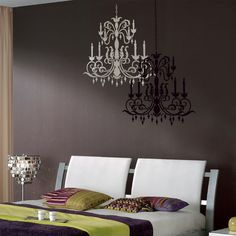 Reusable stencil Chandelier  - size MED - Wall stencils better  than Wall Decals