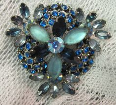 Beautiful Large Big Blue Rhineston Brooch by zoecatglitzanglamour, $19.99