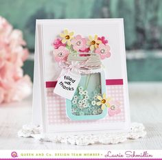 card flower flowers, shaker card, queen and co love jar kit, Blooming Mason Jar Card, Love Jar Shaker Card Kit - Queen & Co Gallery Love Jar - Queen & Co Love Jar, Mason Jar Cards, Pot Mason, Cool Gifts For Teens, Karten Diy, Shaped Cards, Card Making Tutorials, Card Kit, Flower Cards