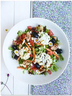 Salade-crétoise Raw Vegetables, Veggies, Caprese Salad, Cobb Salad, Lima, Gourmet Recipes, Healthy Recipes, Summer Recipes, Entrees