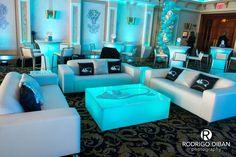 Bat Mitzvah Lounge Setup With Led Furniture Custom Decals Logo