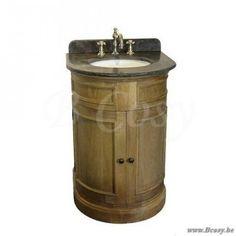 PR Interiors Toledo ronde enkele Wastafel in smoked oak-eik Landelijk badkamermeubel 55