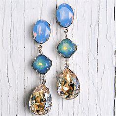 Blue Opal Moonlight Earrings - Swarovski Crystal Rhinestone Earrings, Nautical Earrings - Jewelry by Mashugana