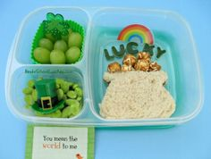 Patrick's Day Pot Of Gold bento - Bento School Lunches: Bento Lunch: St. Patrick's Day Pot Of Gold bento Creative School Lunches, Healthy Lunches For Work, Cold Lunches, Easy Lunch Boxes, Bento Box Lunch, Lunch Ideas, Bento Ideas, Kids Nutrition, Kid Friendly Meals