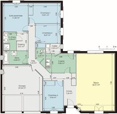 Awesome Plan Maison De Plain Pied 4 Chambres that you must know, You?re in good company if you?re looking for Plan Maison De Plain Pied 4 Chambres The Plan, How To Plan, System Architecture, Architecture Details, Modern House Plans, Small House Plans, Bungalow, Villa, Architectural Section