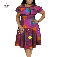 Image of New Bazin Riche African Ruffles Collar Dresses for Women Dashiki Print Pearls Dresses Vestidos Women African Clothing African Dresses Plus Size, Short African Dresses, Latest African Fashion Dresses, African Print Dresses, African Print Fashion, Ankara Fashion, Africa Fashion, African Prints, African Fabric