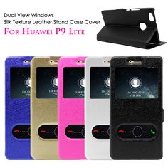 For Huawei P9 Lite Y62 Y3II 5c GT3 Cover Dual View Windows Silk Texture PU Leather Stand Phone Case for Huawei P9 P9 Lite #clothing,#shoes,#jewelry,#women,#men,#hats,#watches,#belts,#fashion,#style