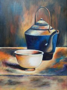 """Teapot and Cup"" by Alicia Hu. This is an excellent example of dry brush blending in acrylics. It was inspired by an art academy lesson"