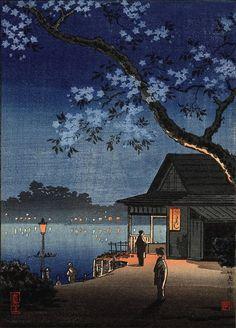 "Japanese Art Print ""Takeya Ferry Crossing"" by Tsuchiya Koitsu, woodblock print reproduction, cultura - Art Corner Japanese Art Prints, Japanese Artwork, Japanese Painting, Chinese Painting, Japanese Drawings, Japanese Aesthetic, Aesthetic Art, Aesthetic Japan, Rainbow Aesthetic"