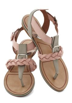 Tomorrow Never Rose Sandal - Pink, Braided, Buckles, Flat, Leather, Casual, Summer