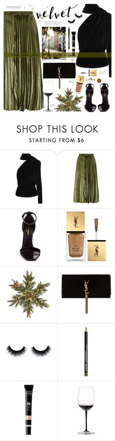 """♥︎ Velvet ♥︎"" by mylkbar ❤ liked on Polyvore featuring Gareth Pugh, Whistles, Yves Saint Laurent, National Tree Company, NYX, MAKE UP FOR EVER, Riedel, velvet and autumn2017"