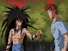 Yu Yu Hakusho - Yusuke and Kuwabara gif I Love Anime, Me Me Me Anime, Awesome Anime, Anime Comics, Anime Hair, Manga Anime, Hair Gif, Yoshihiro Togashi, Anime Japan