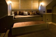 Pretty trundle beds in Home Theater Traditional with Trundle Bed next to Queen…