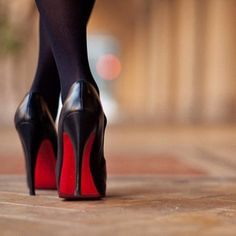 red soles in the morning: classic christian louboutin black kid leather pumps. #shoeporn #actionshot