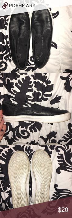 Faux leather slip-on sneakers Faux leather slip on sneakers by Gap. Bottoms show some wear, but otherwise good condition. Perfect for running errands in sweats or with jeans for a night out! GAP Shoes Sneakers
