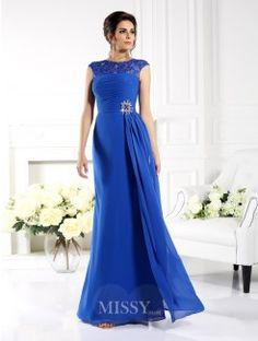 A-Line/Princess Bateau Sleeveless Applique Floor-Length Chiffon Dress