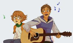 Lance and Pidge probably singing: Lucky I'm in Love with my Best Friend from Voltron Legendary Defender