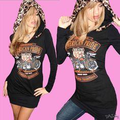 American Pride Leopard Biker Long Sleeve Hoodie Motorcyle Top! www.demiloon.com #sexy #harley #tee