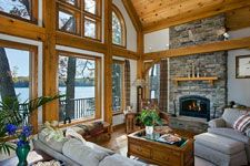 A View Of The Lake   Timber Frame Great Room Space