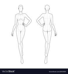 Fashion template walking women vector image on VectorStock Fashion Illustration Poses, Fashion Illustration Template, Fashion Sketch Template, Fashion Figure Templates, Fashion Design Template, Illustration Art, Fashion Drawing Tutorial, Fashion Figure Drawing, Fashion Model Drawing