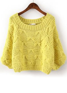 Yellow Batwing Sleeve Bow Inset Knit Sweater US$32.62