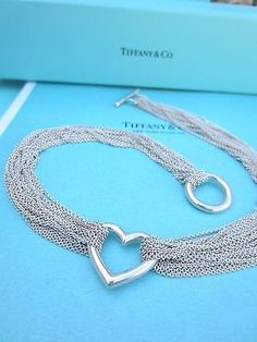 AUTHENTIC Tiffany & Co. Open Heart Mesh Multi Ten Strand Toggle Necklace - http://elegant.designerjewelrygalleria.com/tiffany/authentic-tiffany-co-open-heart-mesh-multi-ten-strand-toggle-necklace/