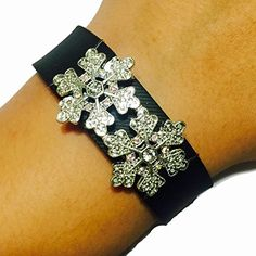Fitbit Charge Fitbit Charge HR Jewelry to Accessorize Your Fitness Tracker  Winter White Snowflake Rhinestone Studded ARENDELLE Charm Bracelet Accessory *** You can get additional details at the image link.