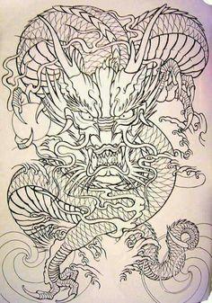 Dragon Tattoo Colour, Dragon Head Tattoo, Dragon Tattoo Designs, Head Tattoos, Body Art Tattoos, Sleeve Tattoos, Asian Tattoos, Black Tattoos, Traditional Black Tattoo