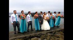 Aqua turquoise wedding. Our bridal party