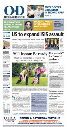 The front page for Thursday, Sept. 11, 2014: US to expand ISIS assault