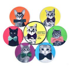 Fab.com | Common Rebels: Seriously Cute Cats Coaster Set