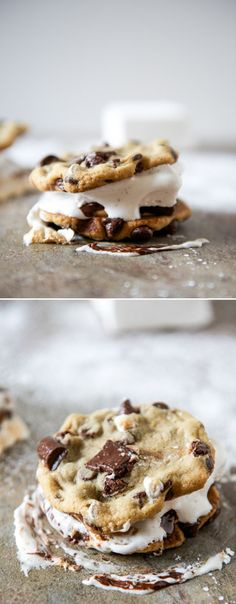 Chocolate Chip Cookie Peanut Butter S'mores I howsweeteats.com