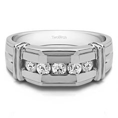 10k White Gold Channel Set Men's Ring With Bars With Diamonds (G-H,I1-I2) (1 Cts., G-H, I1-I2) (10k White Gold, Size 9.5) (solid)