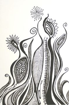 Abstract Garden Original Pen Drawing . Black and by blueskybeads