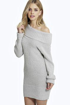Clara Off The Shoulder Knitted Dress at boohoo.com