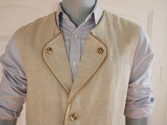 German Vintage Trachten Vest, Natural-Colored Rough Linen Traditional Bavarian Vest, Alpine Beige Vest: Size XL (44-46 US) by YouLookAmazing on Etsy