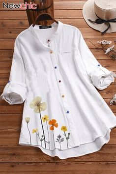 Cotton Linen Flower Print Irregular Hem Long Sleeve Colorful Button Shirts - White for daily casual wear Lapel Flower, Mode Hijab, Blouse Vintage, Vintage Floral, Vintage Dress, Mode Outfits, Chic Outfits, Stylish Dresses, Dress Casual